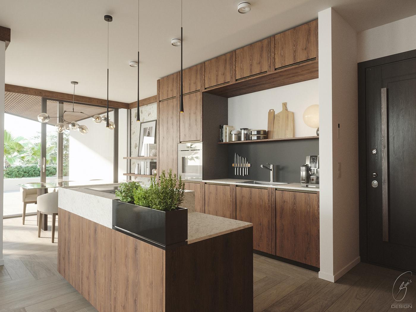 3dsmax archviz FStorm kitchen walnut