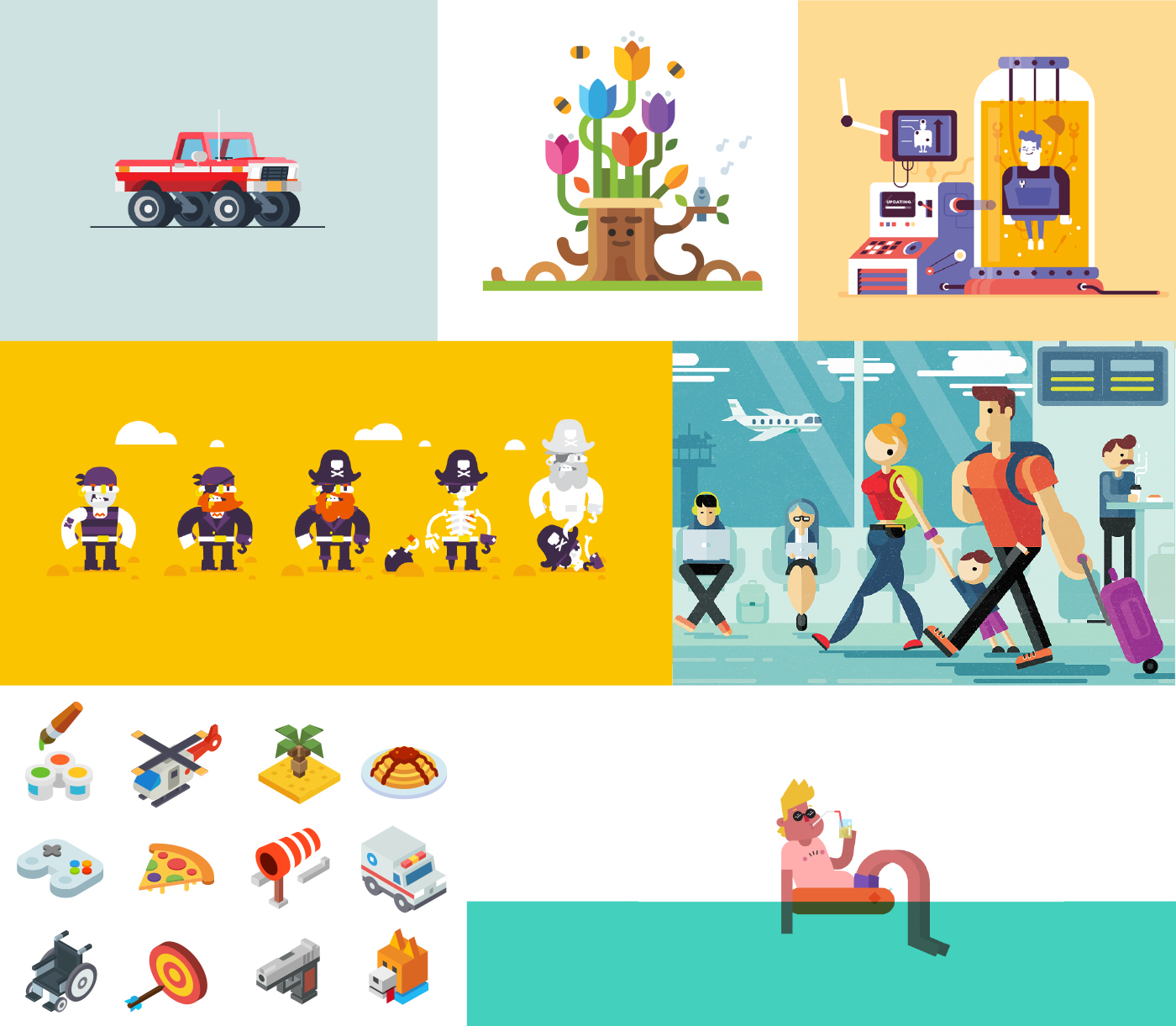 gif 2D flat Peart Icon Travel airport 3D after effects robot Truck Flowers Character sea motion design