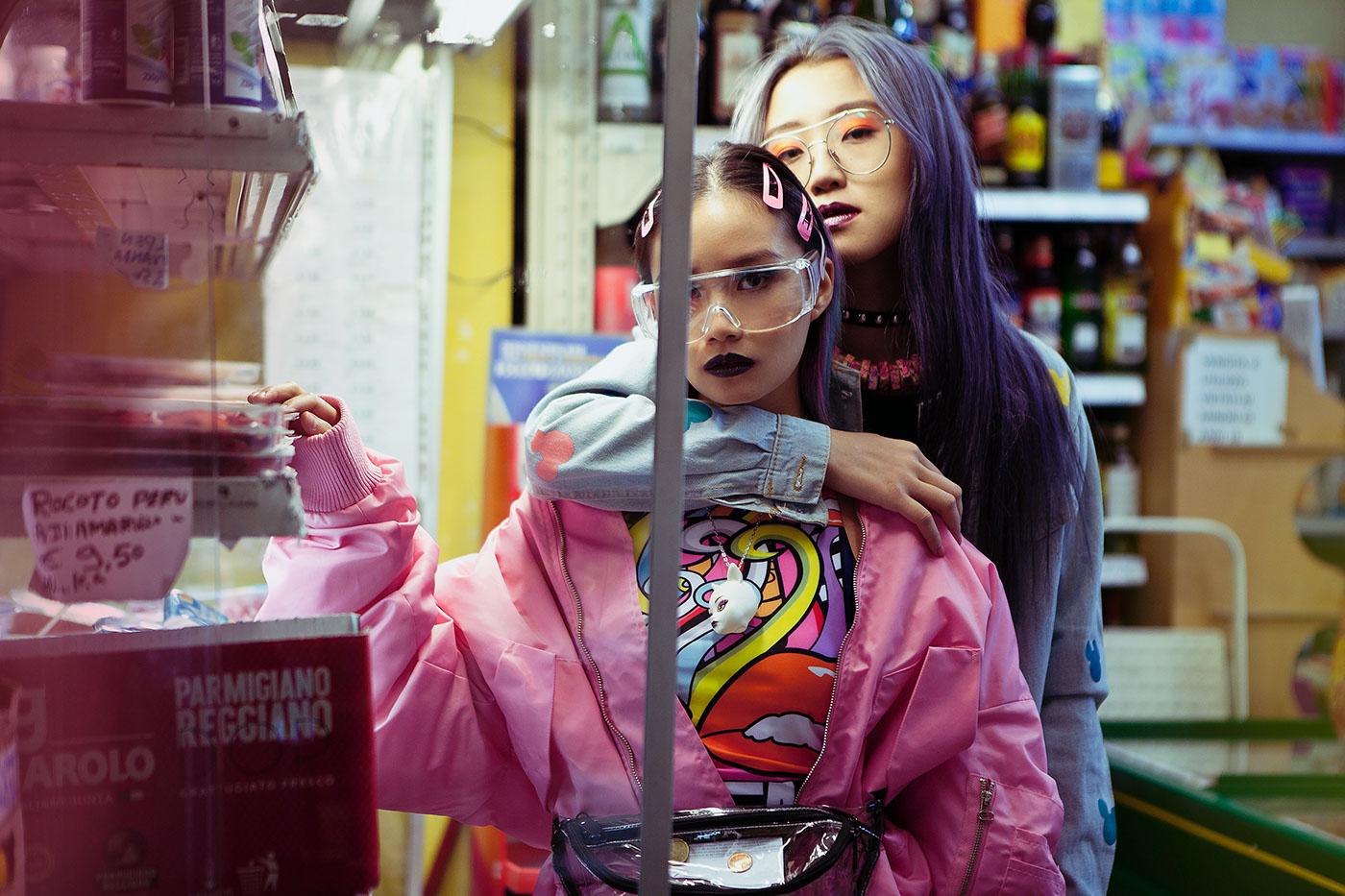 Fashion  styling  chinese Supermarket beauty tokyo streetstyle makeup