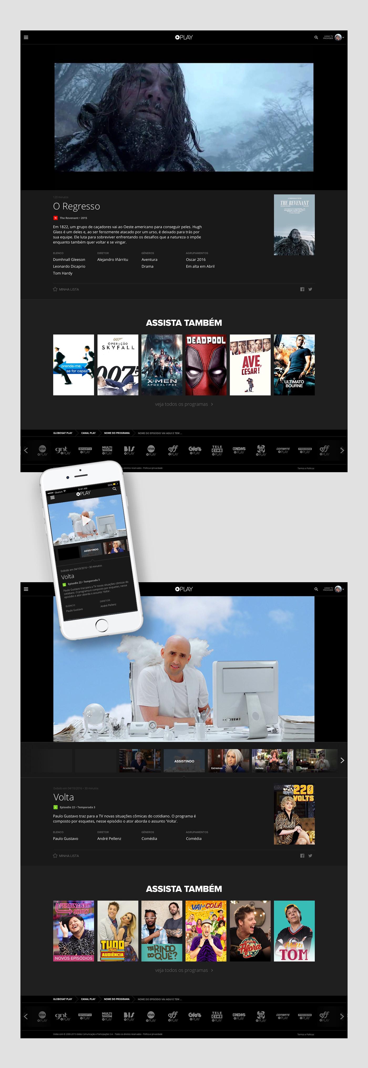 TV Everywhere Movies series VOD Channel Platform UI ux