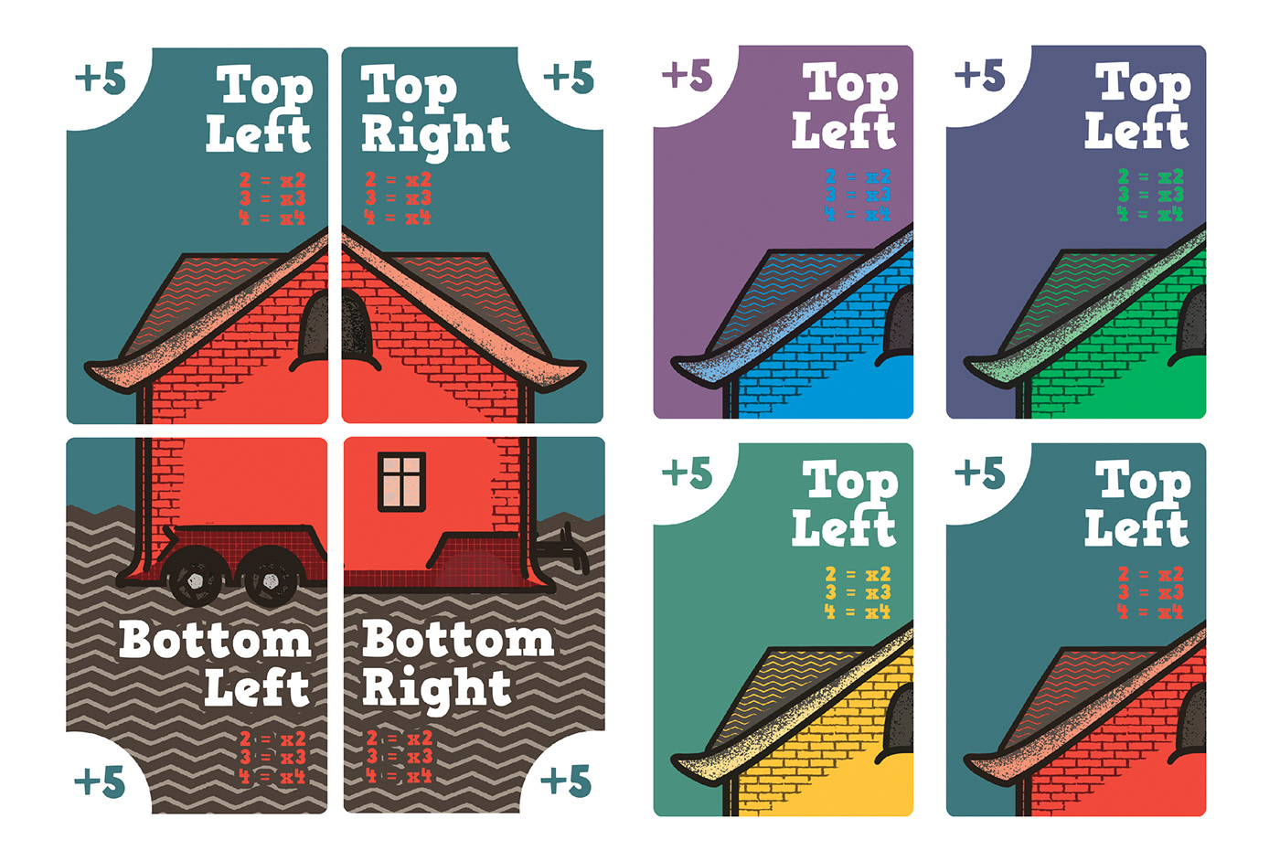 card game cards ILLUSTRATION  minimal Playing Cards tiny house
