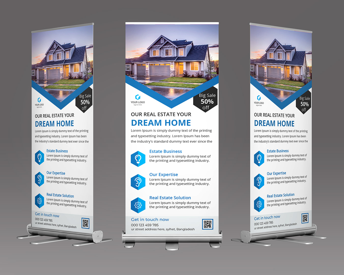 Real Estate roll up banner template free download on Behance