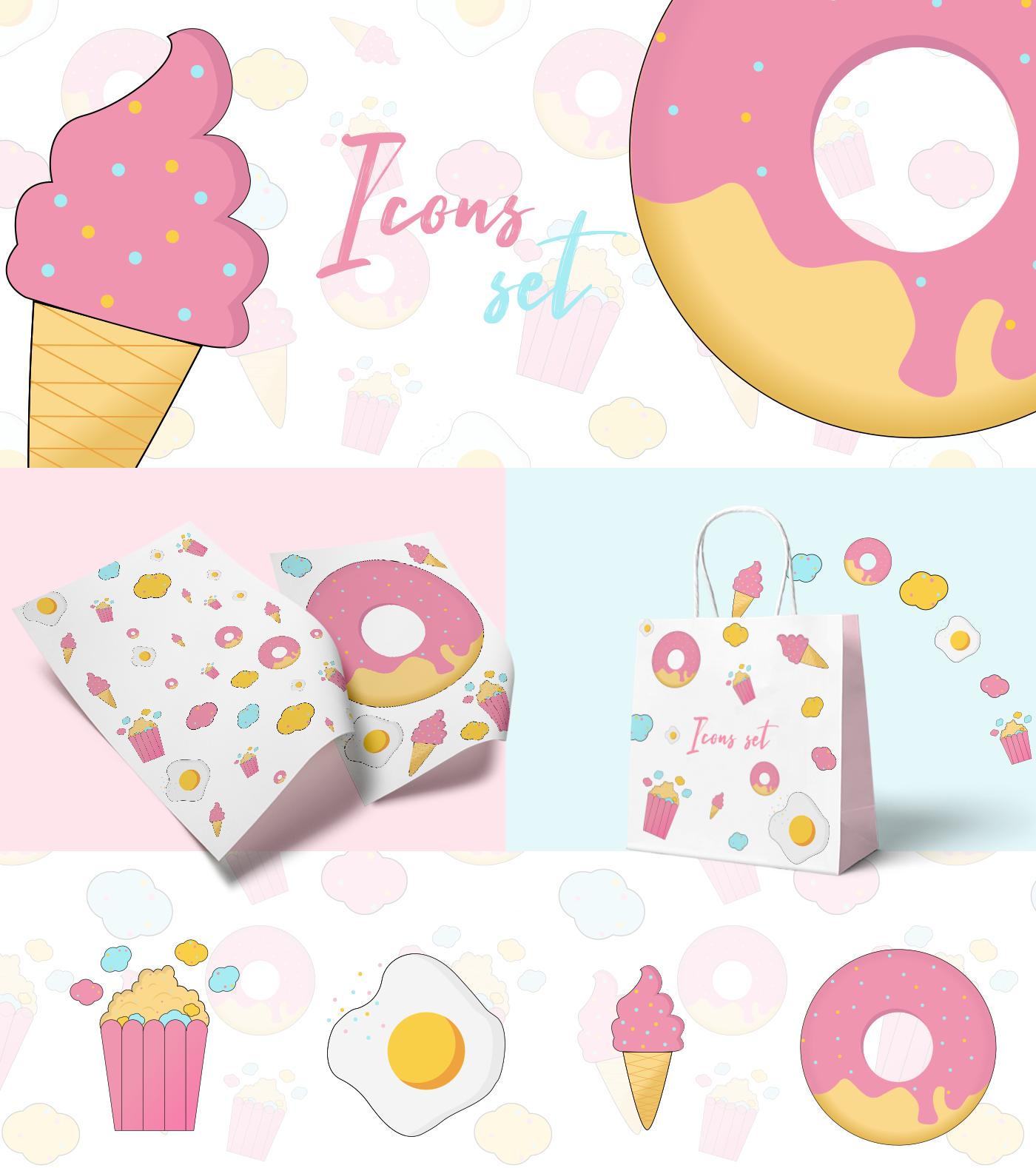 ILLUSTRATION  graphic design  Web Design  icons donut Food  ice cream vector pattern background
