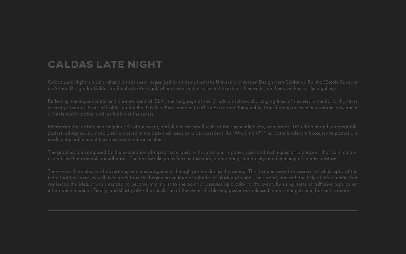caldas late night CLN 21 guifurt black caldas da rainha Event print poster culture design