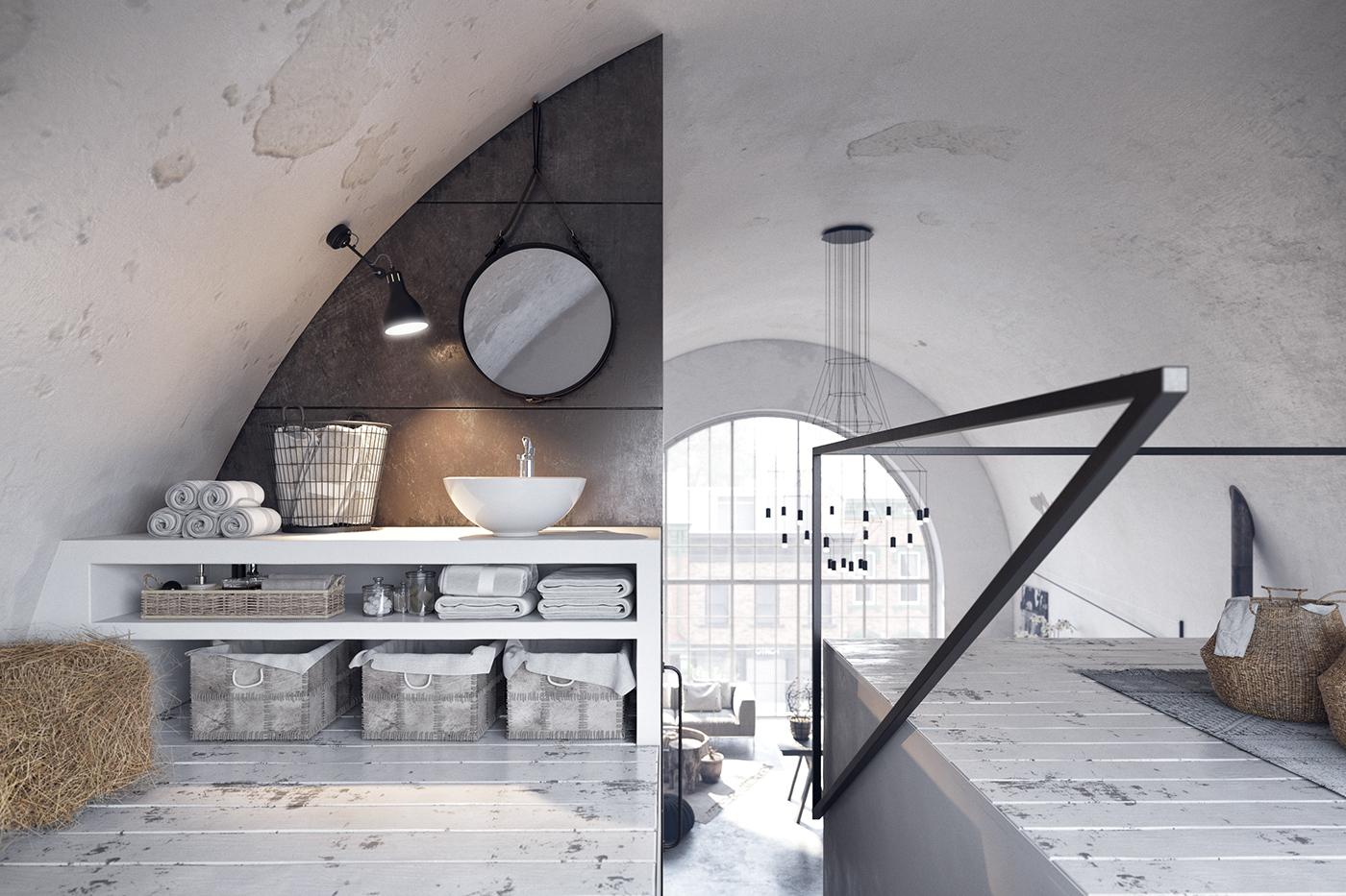 Chambre et salle d'eau en mezzanine