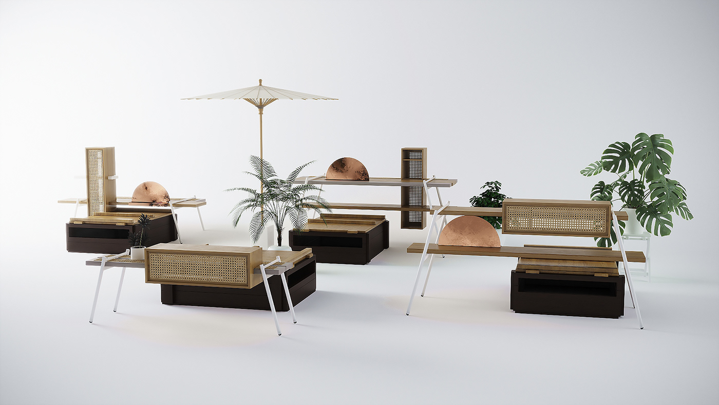 furniture stall Exhibition  industrial design  product design  Collection chinese Orient culture