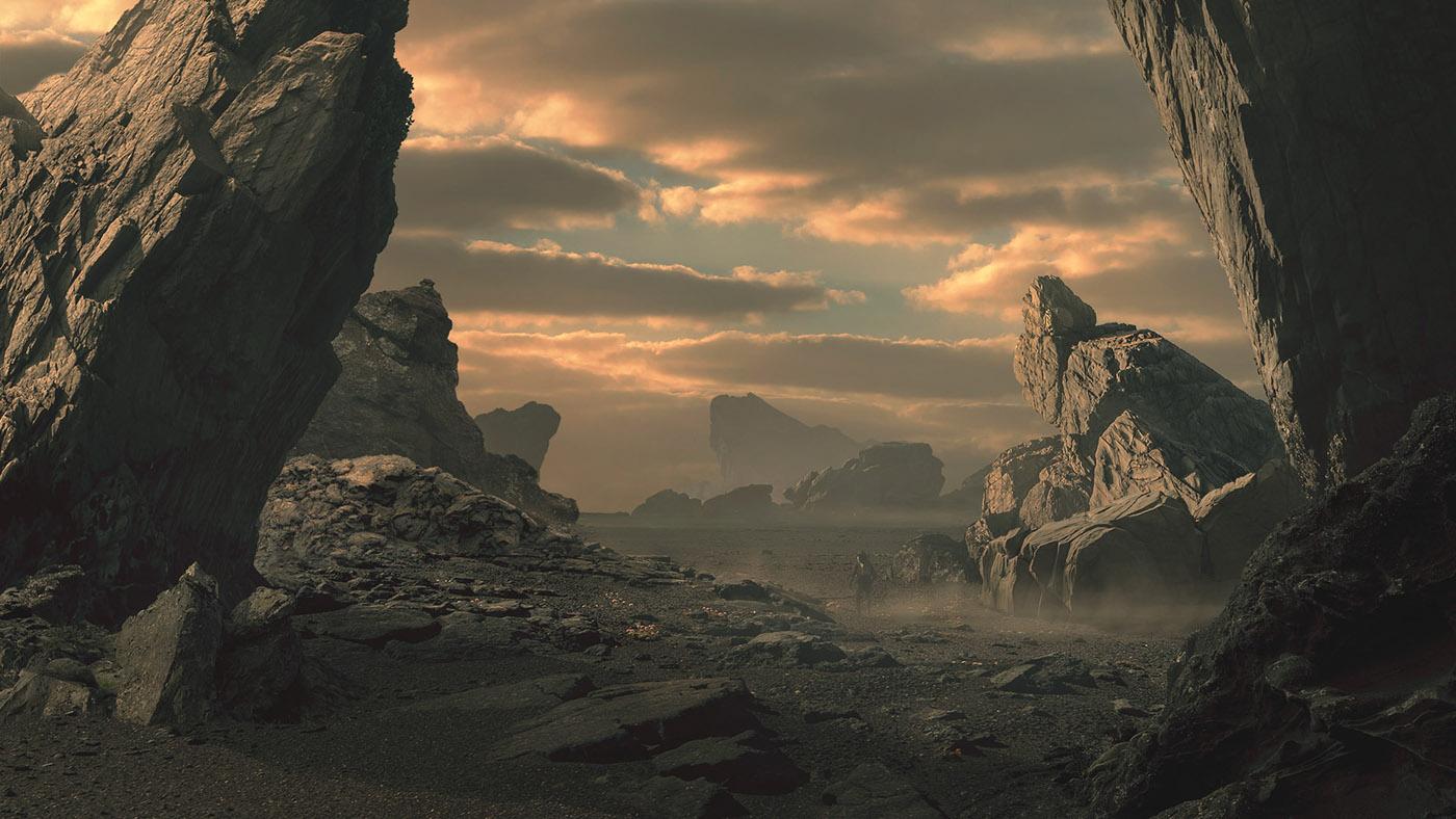 Desert planet matte painting on behance for Matte painting