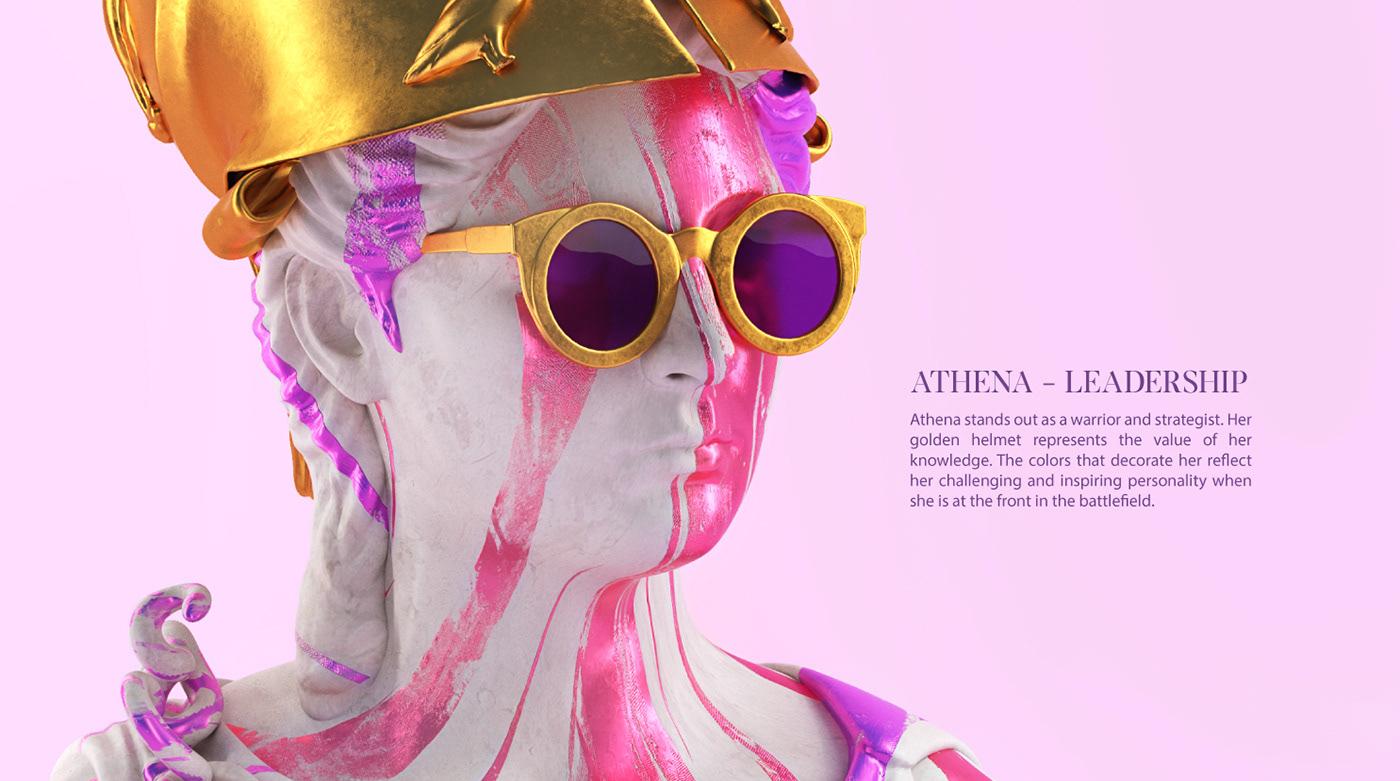 art 3D ILLUSTRATION  sculpture Digital Art  art direction  design Render brand colors