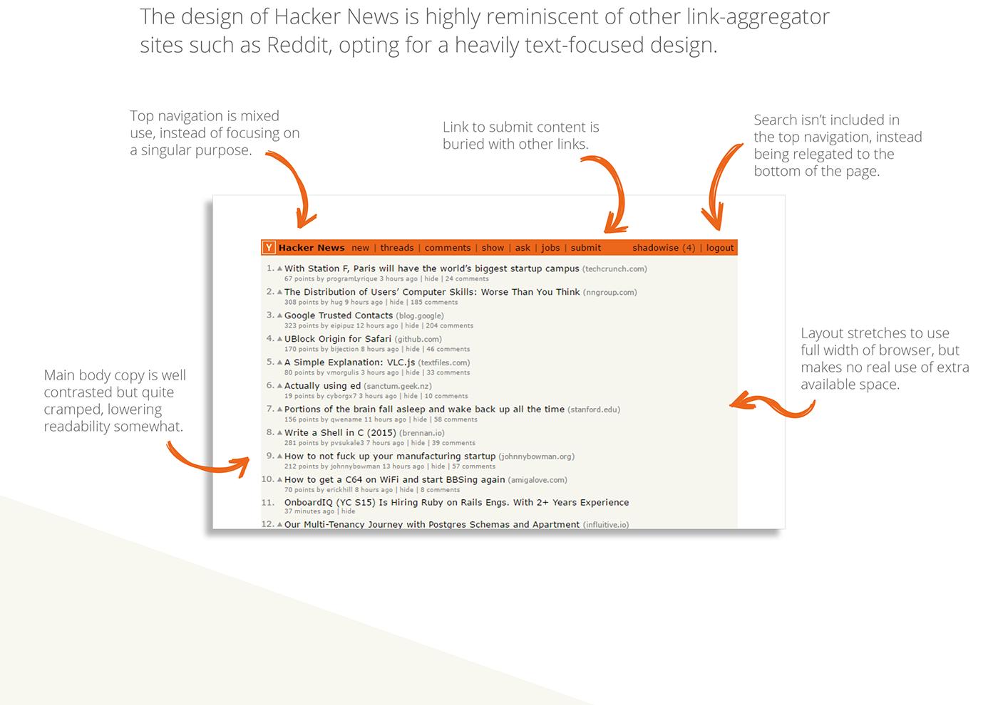 redesign ux Web Design  design Hacker News metrics UI