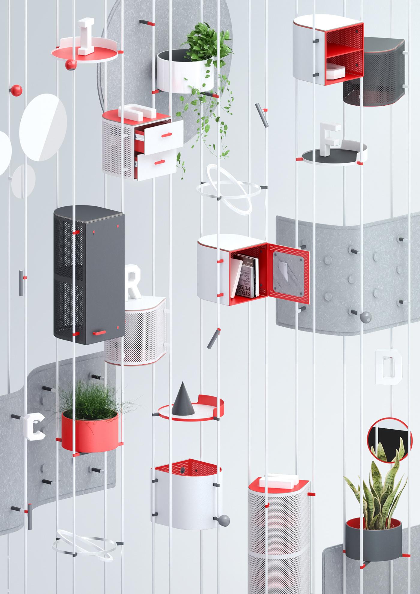 furniture furniture design  illumika Minimalism modern furniture modular product product design  storage