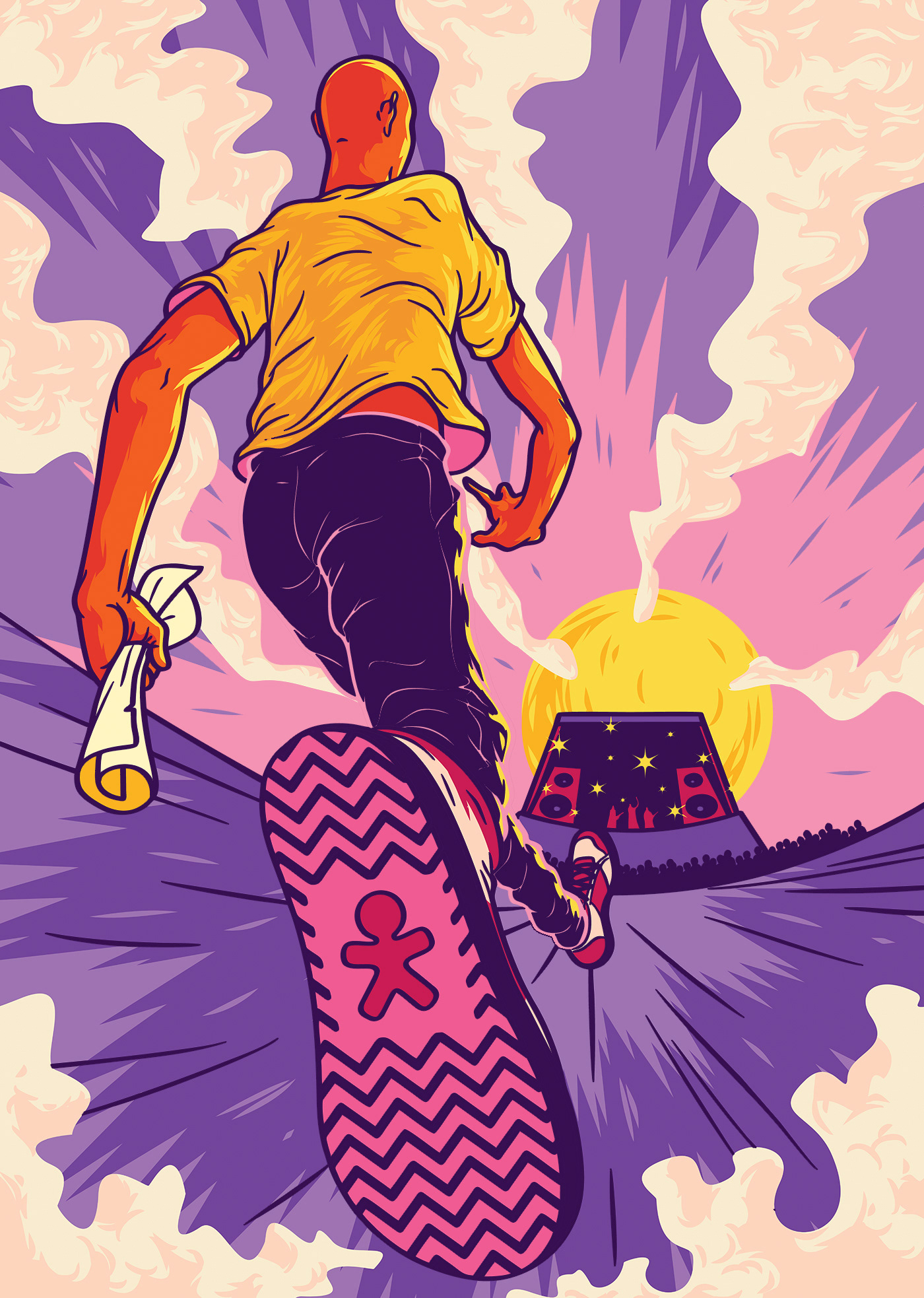 ILLUSTRATION  music festival Rock n' Roll pop hits Hipster indie hip-hop Experience