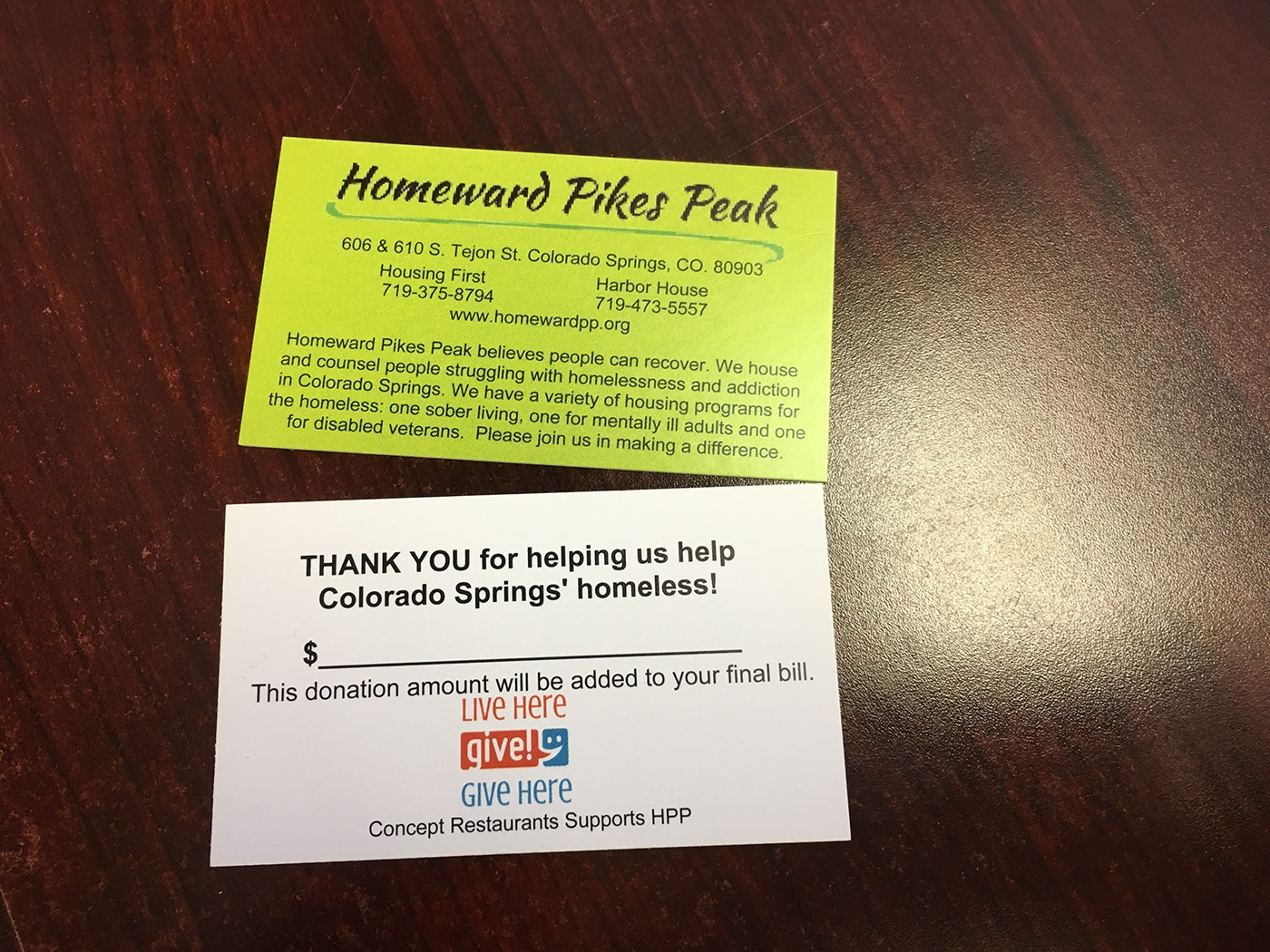Homeward pikes peak housing first on behance this business card is for a fund raiser at a local restaurant for patrons to give with their meal colourmoves