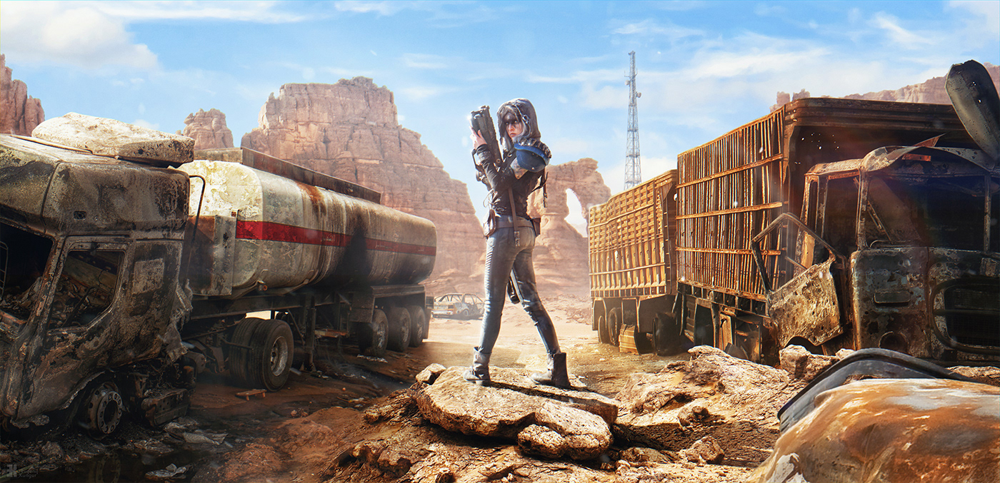 abandoned apocalypse conceptart desert Mattepainting postapocalypse postapocalyptic ruin survival wasteland