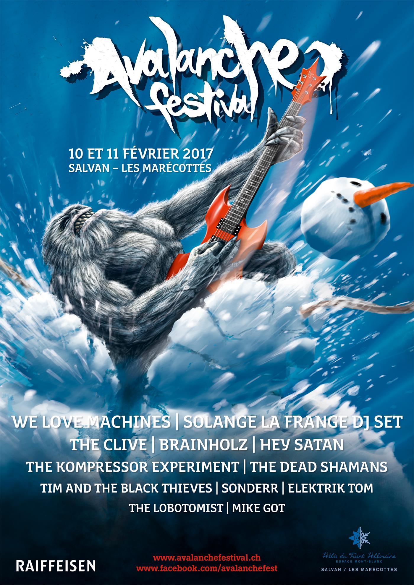 Digital Drawing Avalanche Festival music Music Festival rock metal yeti snow