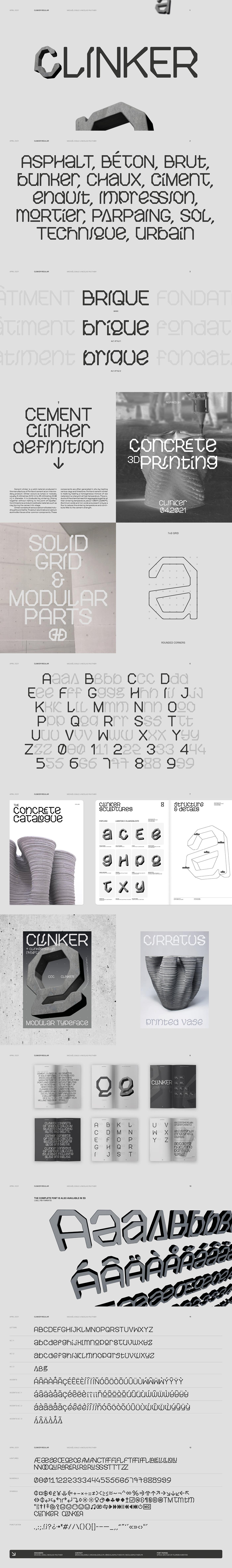3D 3D Font 3d printing concrete Display font sculpture Typeface typography   geometric