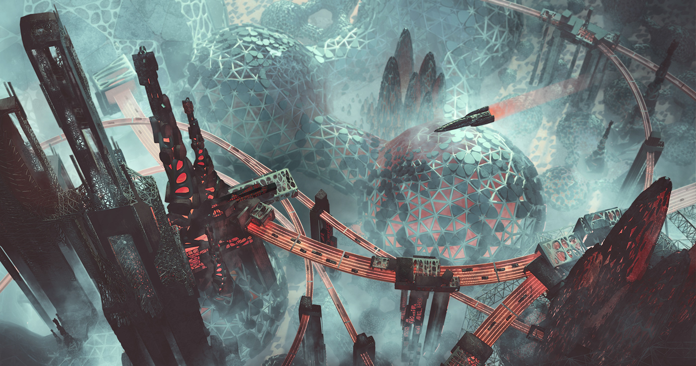 3doverpainting alien concept art environment art futuristic organic parametric Procedural Scifi spaceship