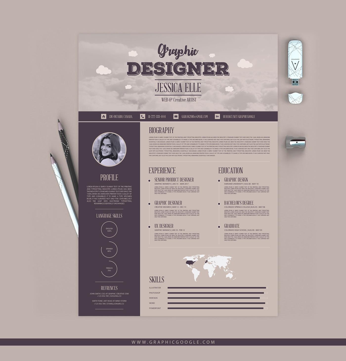 Free Creative Vintage Resume Design Template On Behance