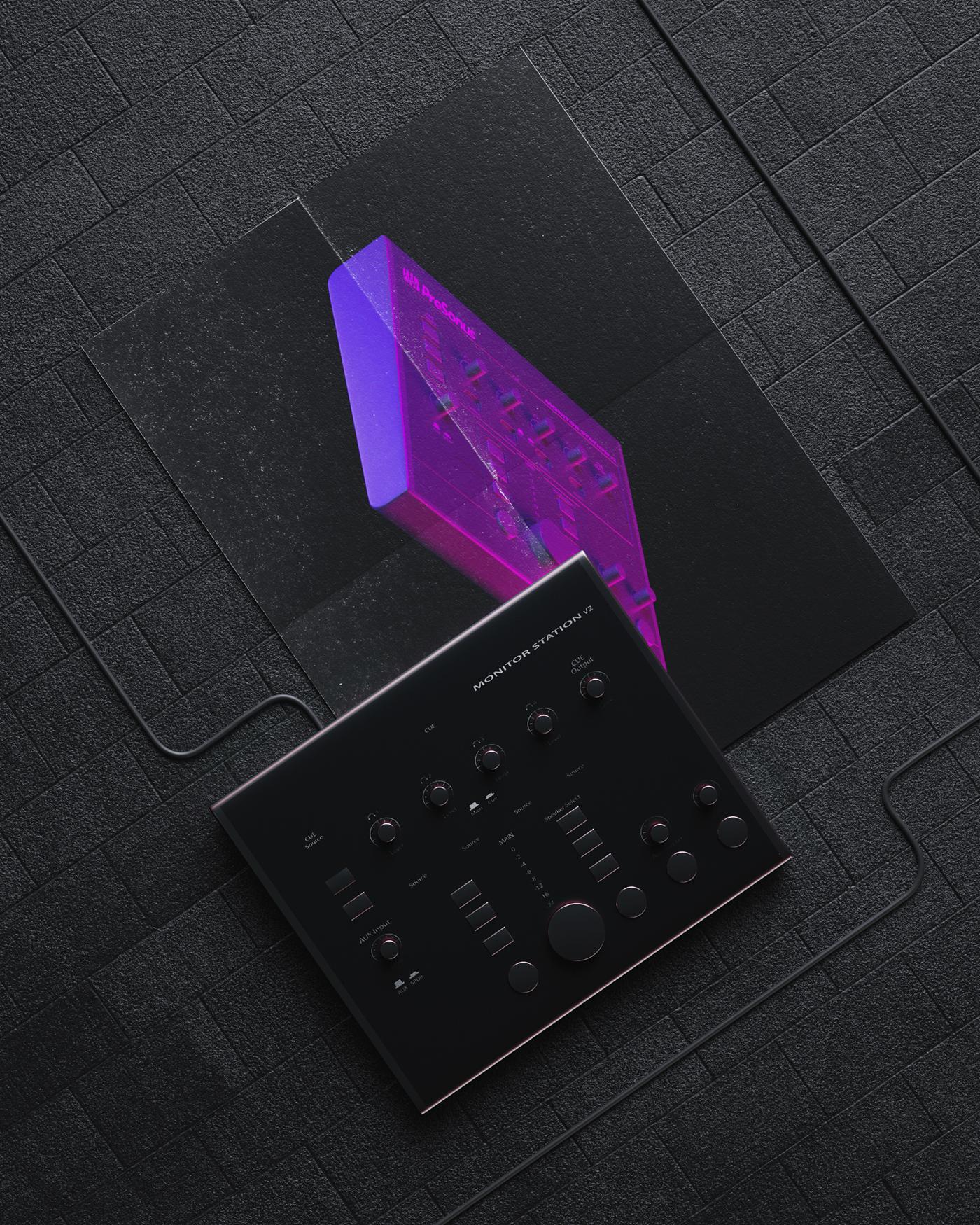 3D CGI octane c4d Audio video Editing  workstation black magenta
