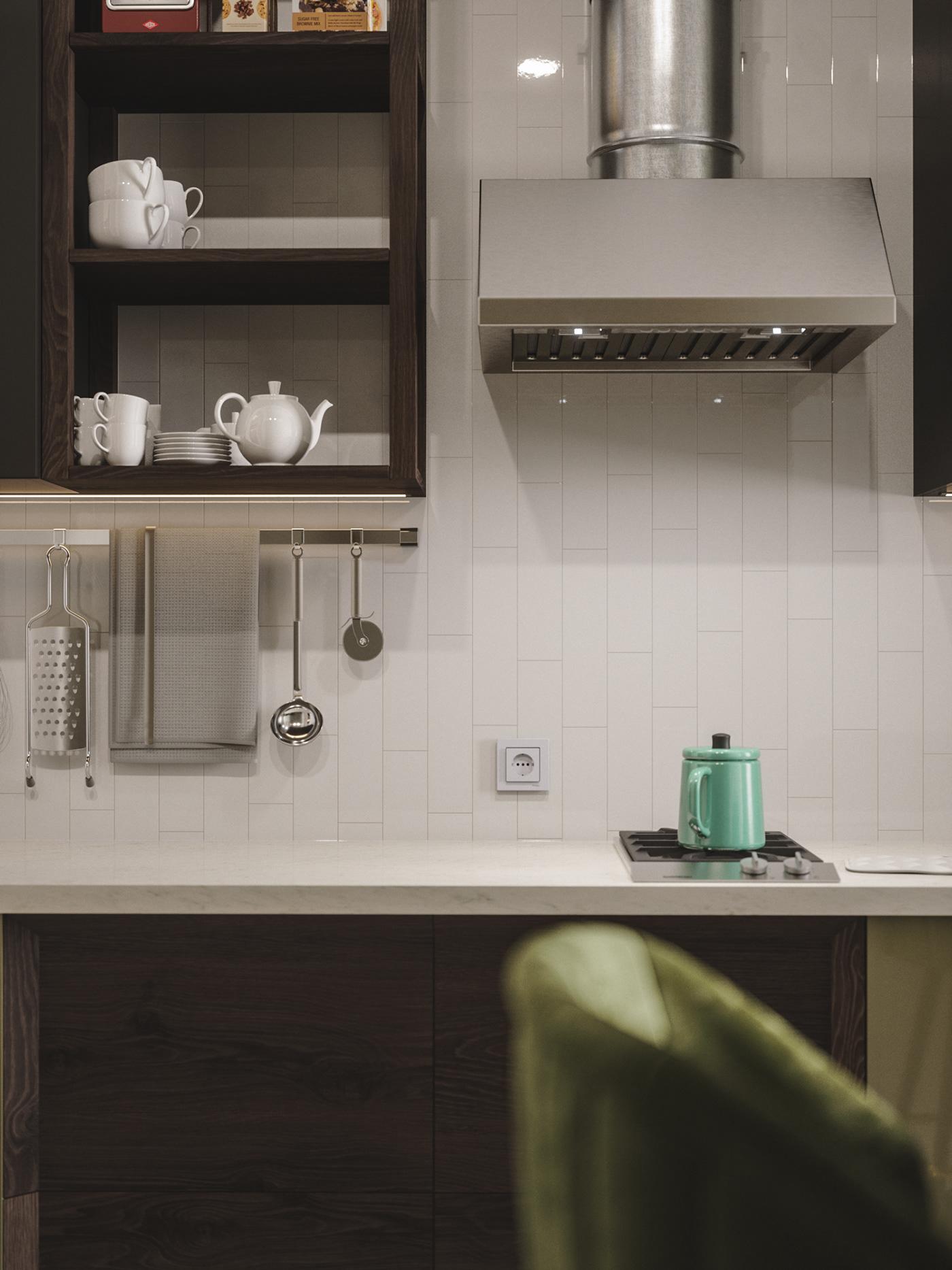 3ds max archviz FStorm green high-gloss kitchen Render