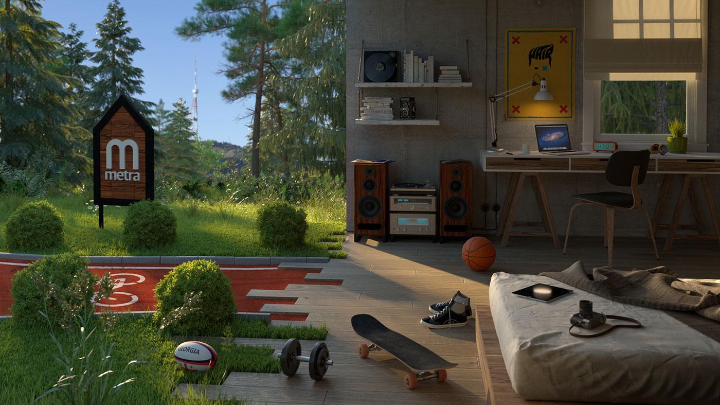 Interior biker bed room photographer sportsman Digital Art  lifestyle architecture art direction  architect