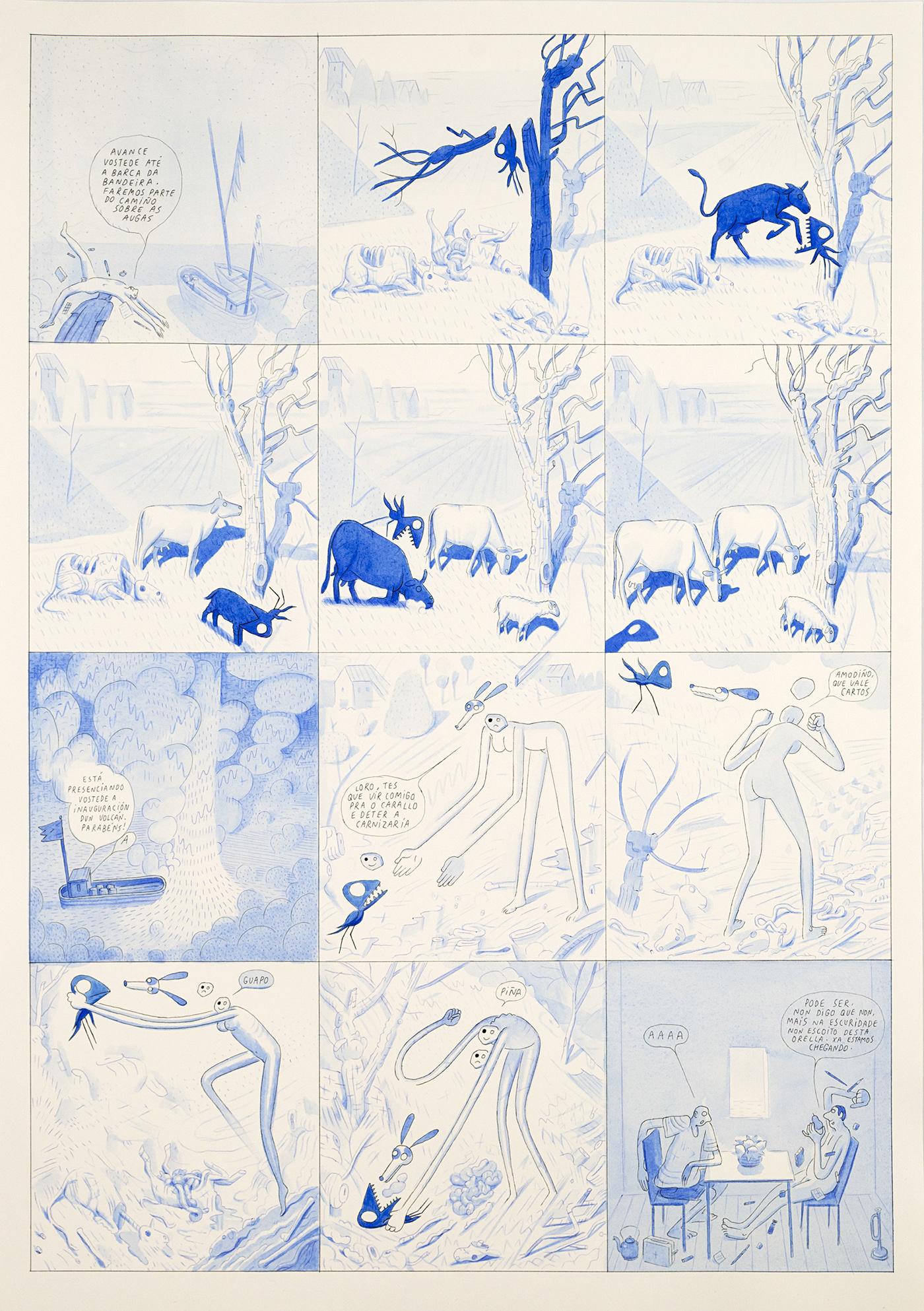watercolour pintura Galicia comic blue