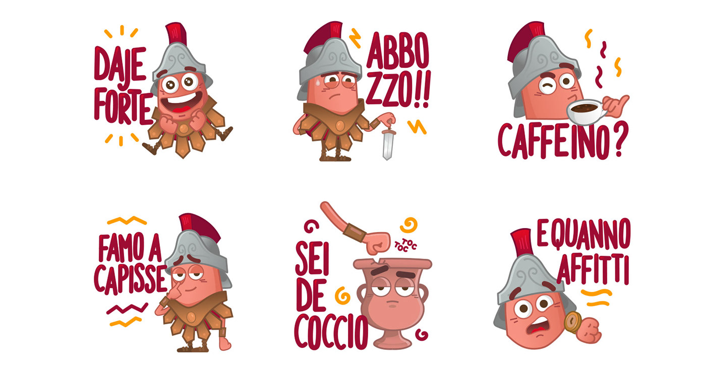 vector,stickers,Telegram,Icon,characters,comics,2D,Italy,Rome,flat