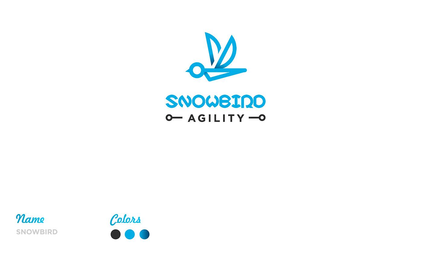 august logo blue brand text Style minimal elephant bird