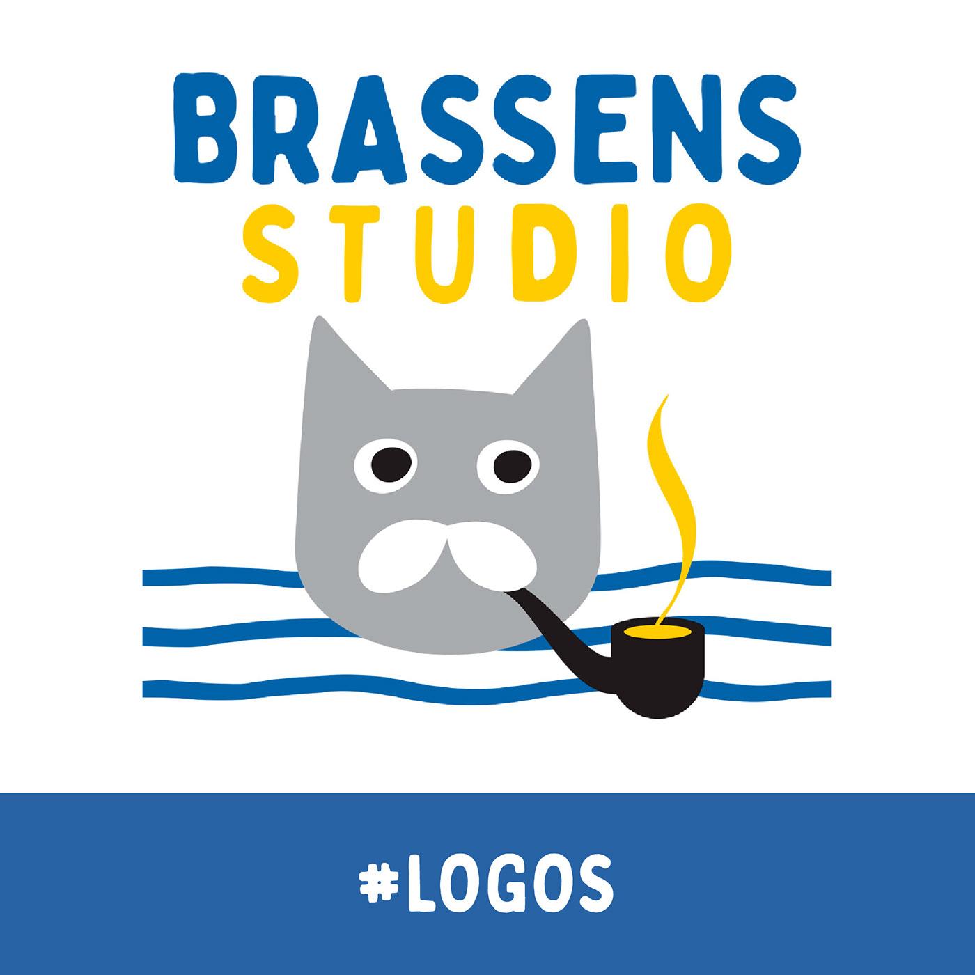 Marca personal. Aglutina las tres pasiones de Brassens: pipa, gato y bigote. Mediterráneo 100%
