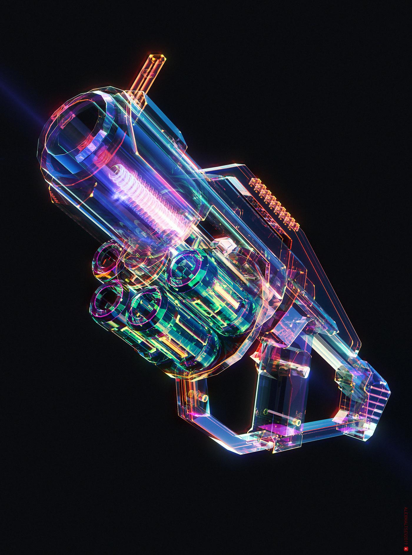 glass Helmet refraction particles Space  redshift 3D Gun Retro