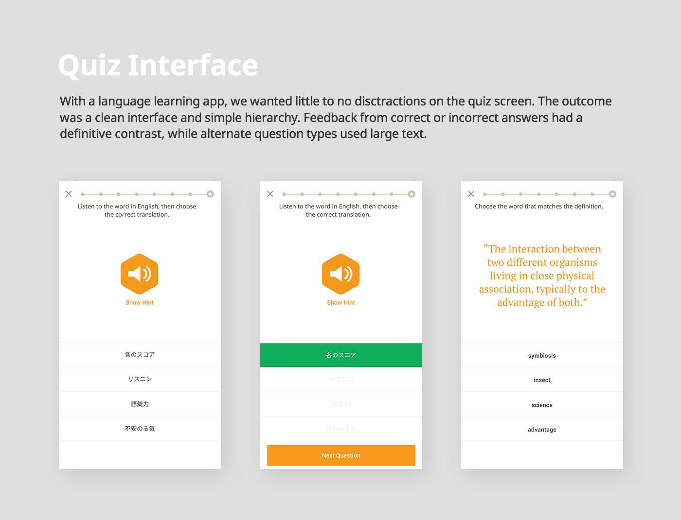 user interface UI/UX visual design mobile app design interaction Education