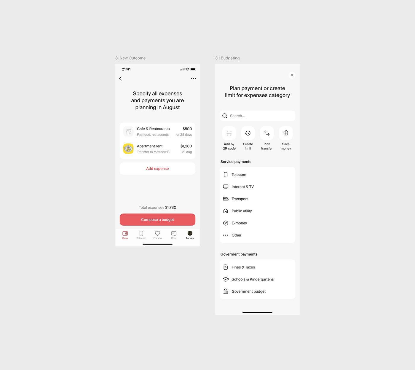 application Bank Budget finance Fintech mobile Telecom UI WALLET banking