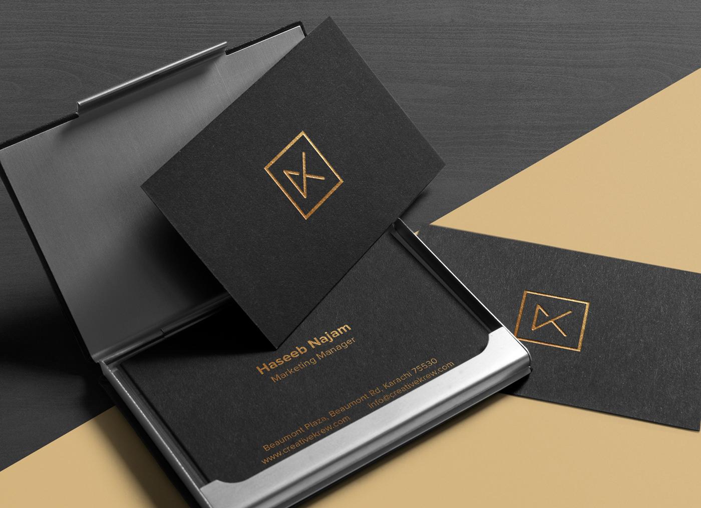 brand identity logo gold black pattern stationary design graphic font Mockup