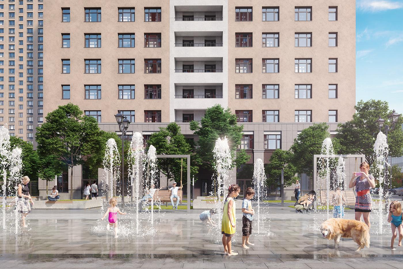 3D architecture art-deco development granum modelling Newton Park skyscraper visualization