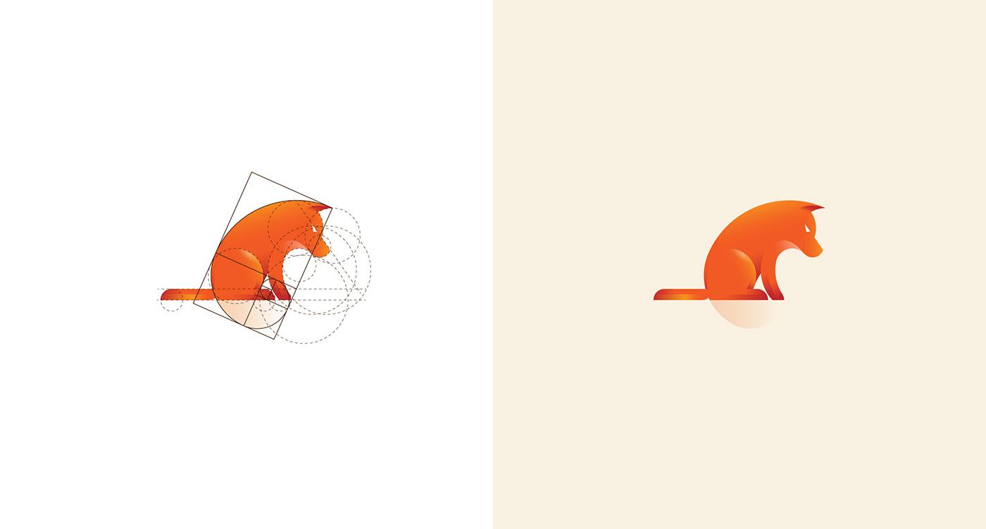 Golden Ratio Golden Spiral animal logo portfolio folio mark symbol bird lion grids