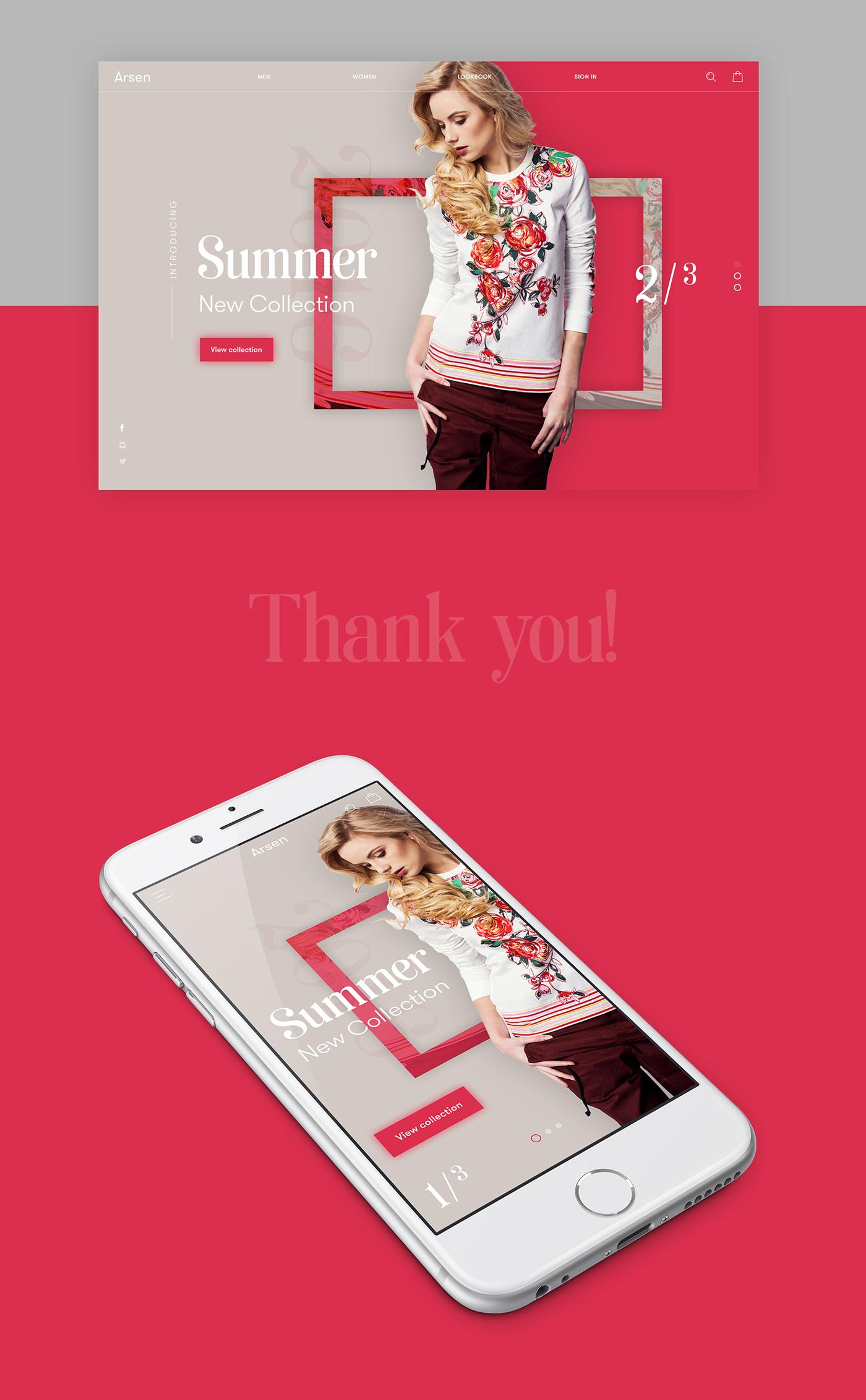 Webdesign Fashion  modern clean Ecommerce UI ux