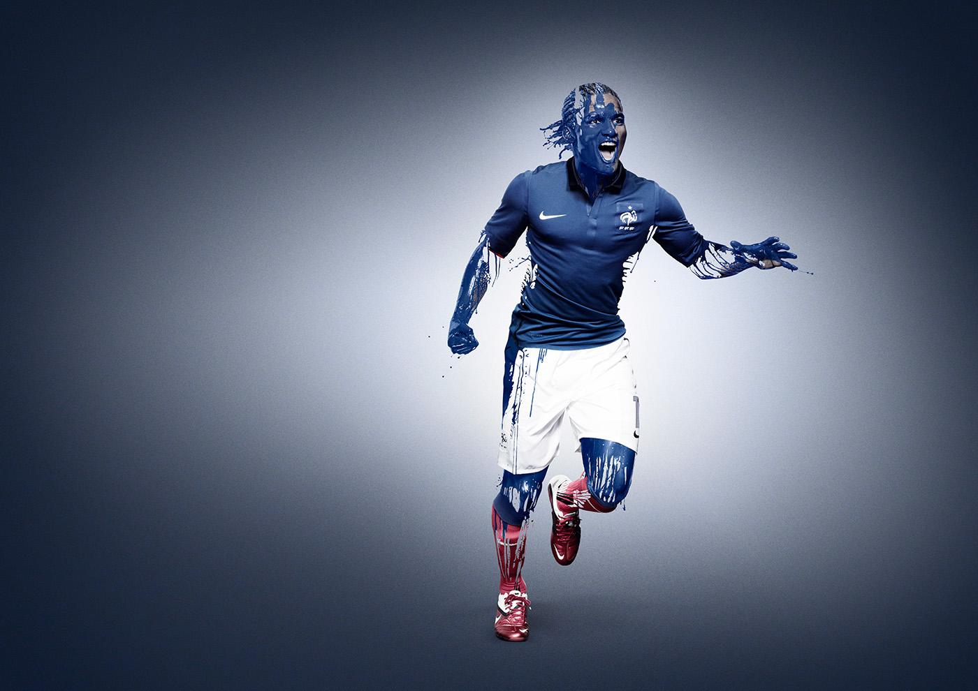football Nike france sport retouching  paint Post Production