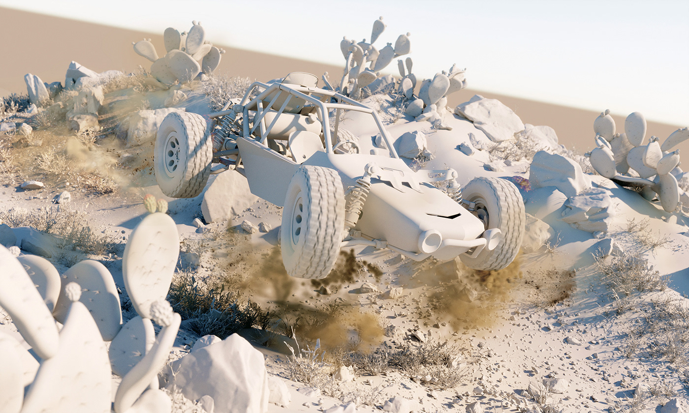 3D 3dsmax buggy car CGI Render vray