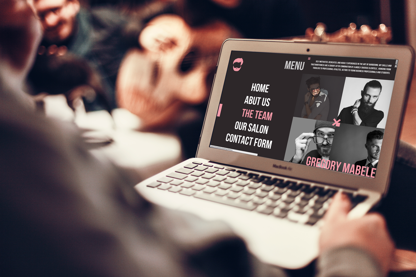barber shop hair Style pink black Web www Layout logo brand mobile Responsive rwd page