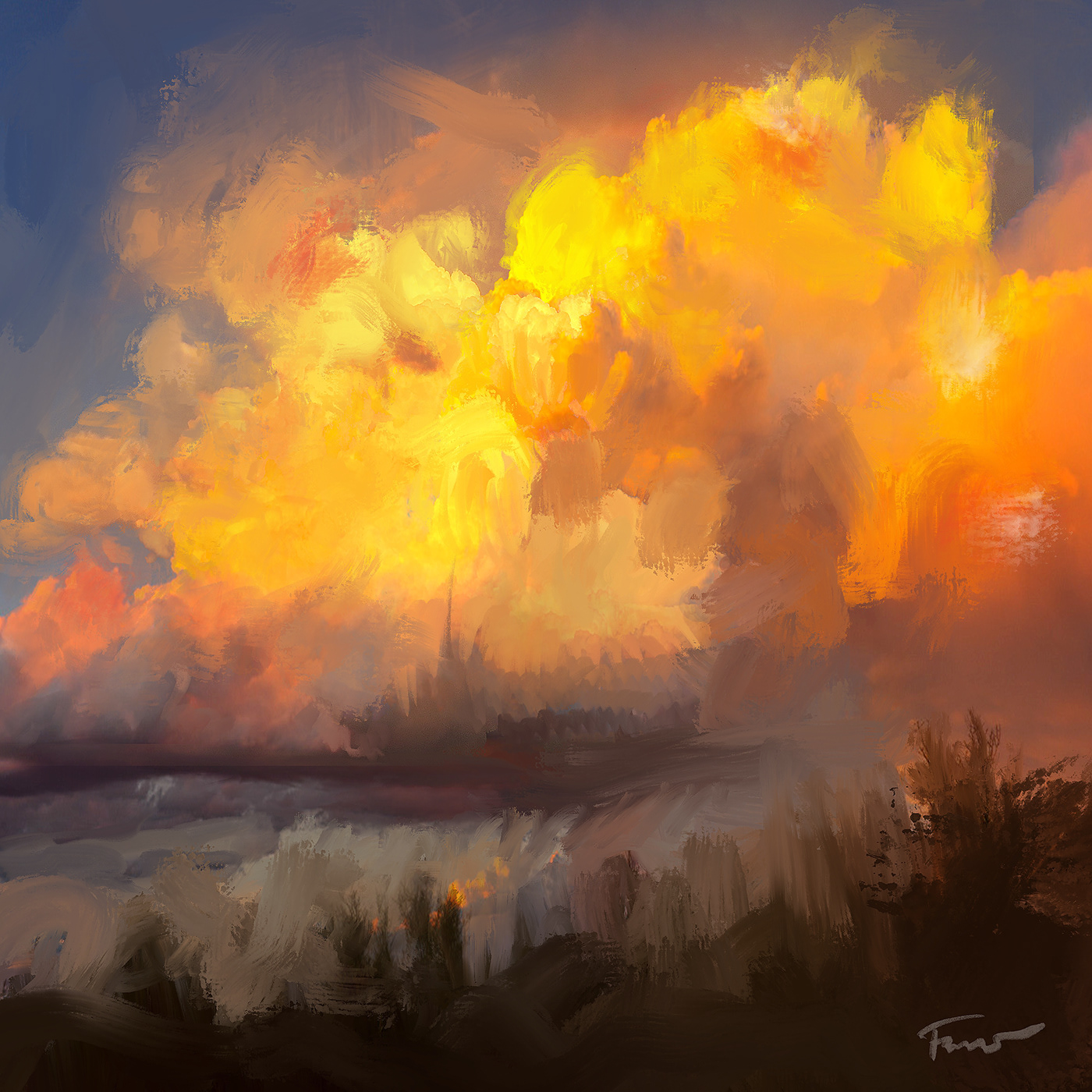 Image may contain: painting, cloud and outdoor