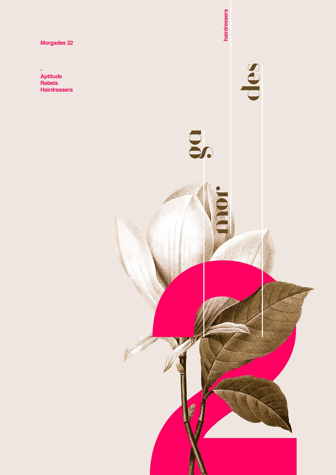 Xavier Esclusa Behance poster type minimal hairdressers flower spring design Typographie plants m32
