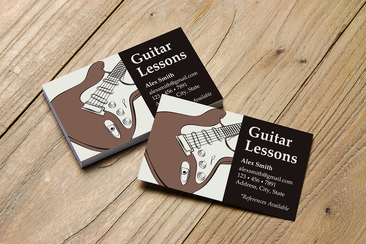 business cards for guitar instructor on behance
