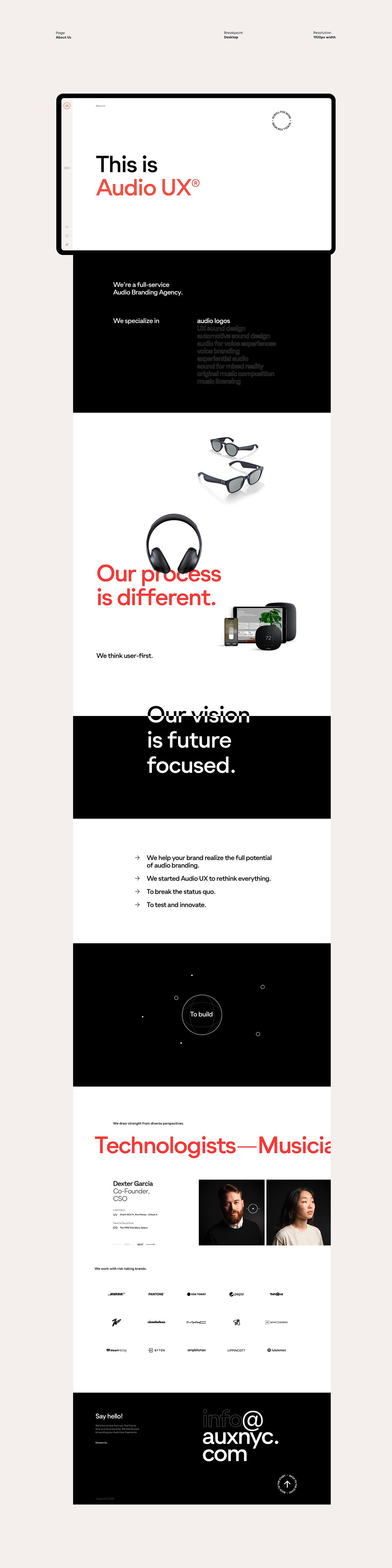 Audio audio ux auxnyc Experience Responsive studio UI/UX uiux Webdesign Website