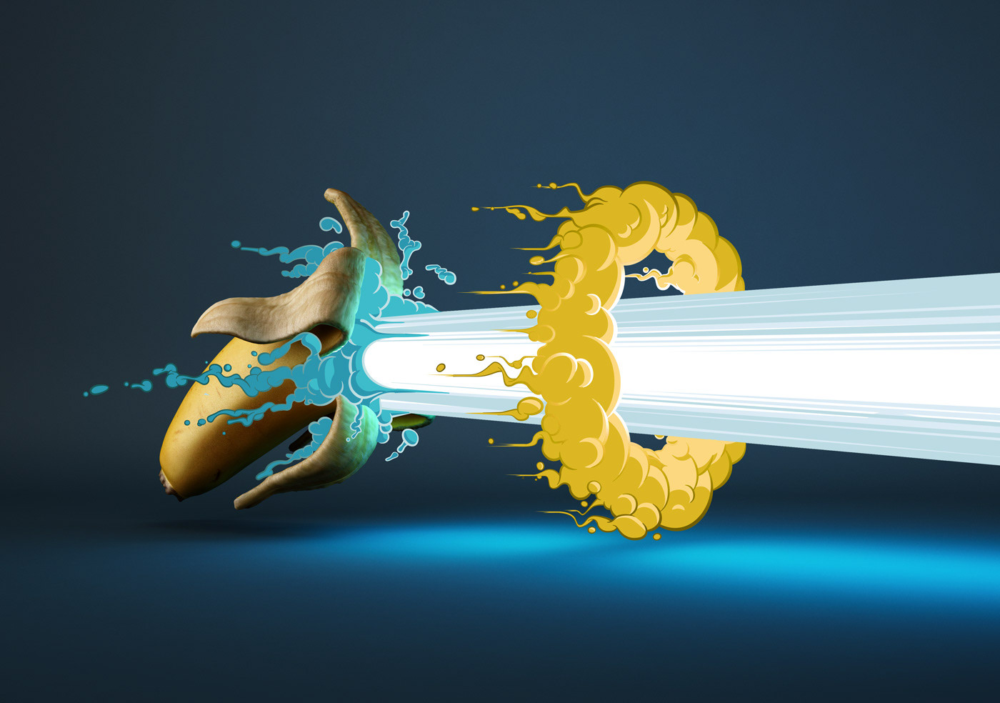 banana Pineapple Coconut explosion CGI 3D cartoon Foods fruits boom vector digital painting toon