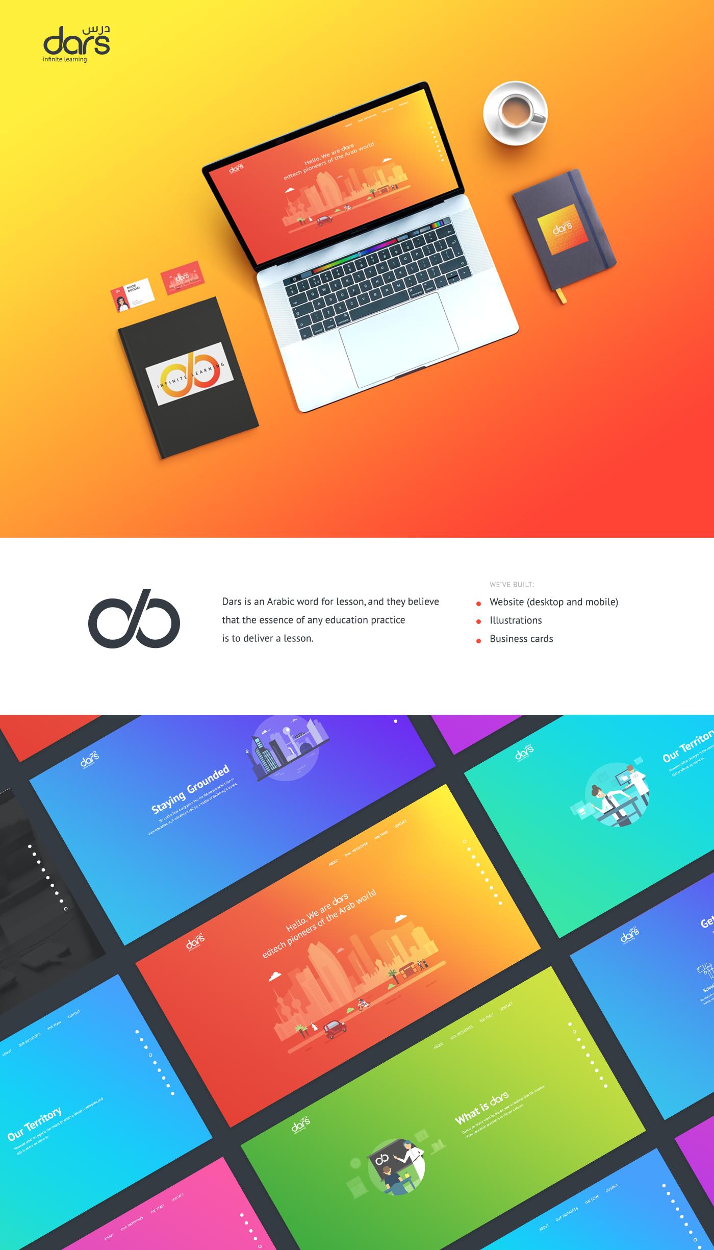 Webdesign ILLUSTRATION  gradient outline icons business card branding