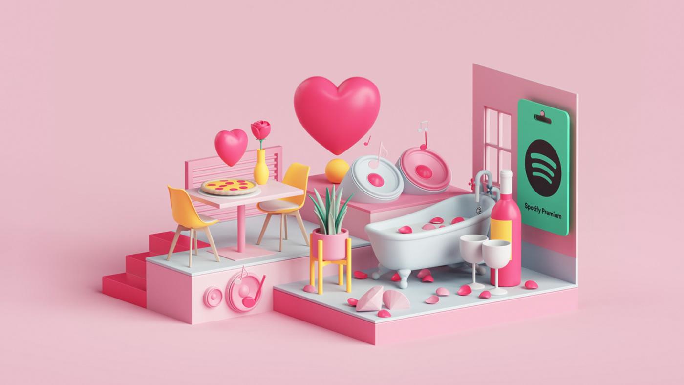 3D animation  design media motion music spotify stream Tarka Isometric