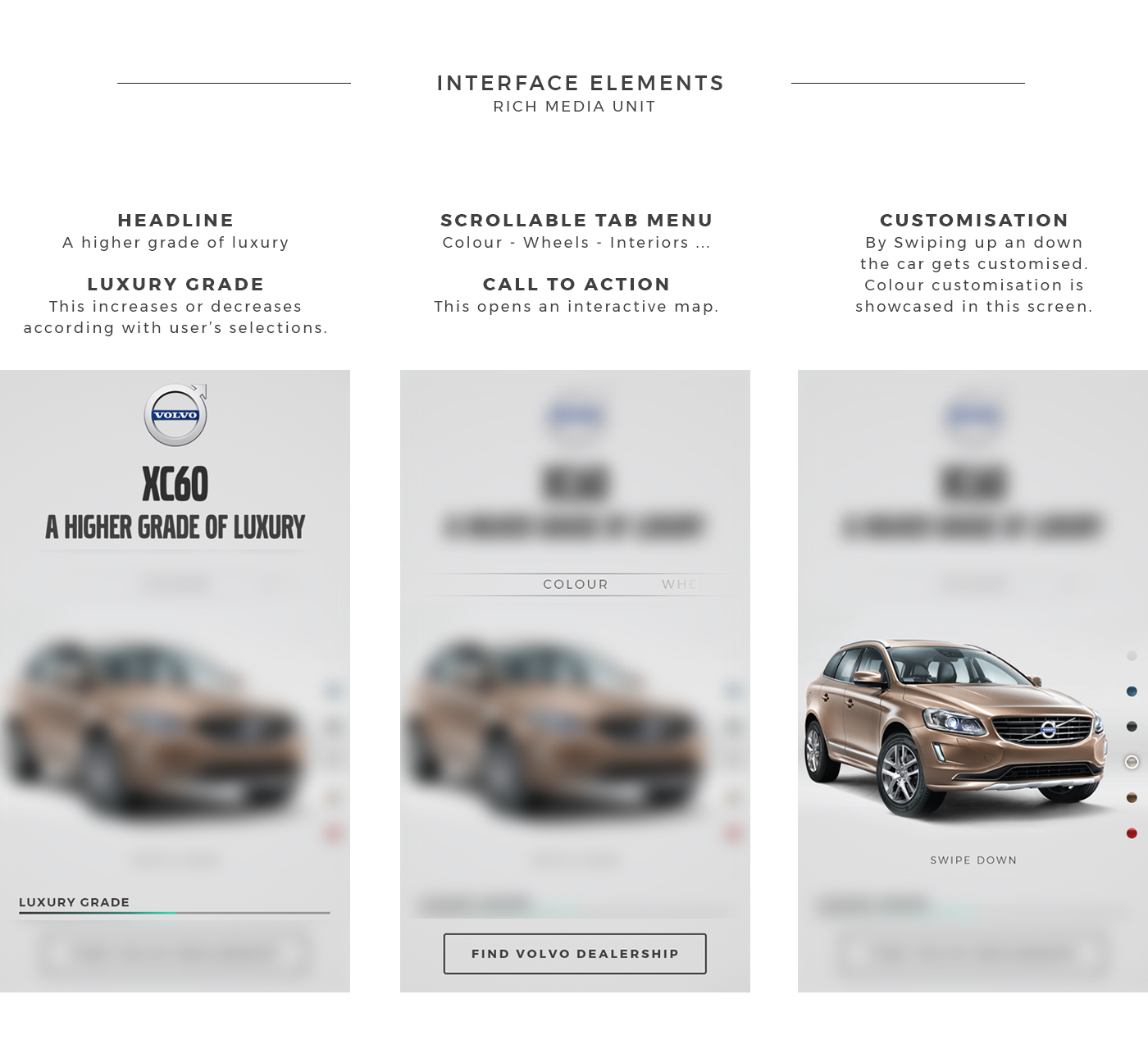 Mobile Advertising Advertising  automotive   Volvo UX/UI mobile mobile ios android art direction  branding
