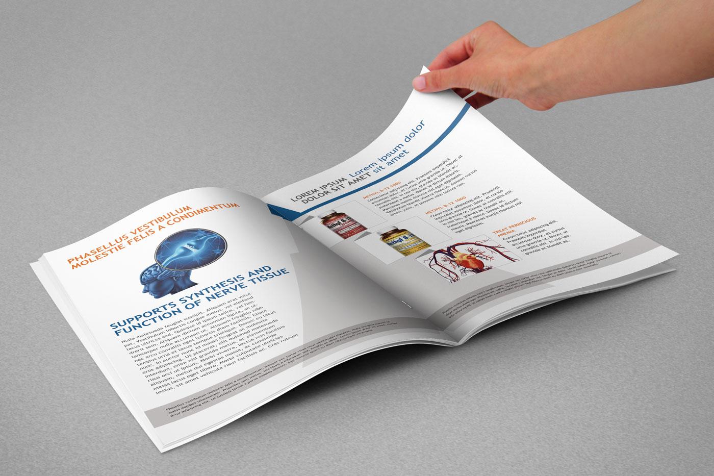 graphic design print brochure editorial medical Kopmin science brand