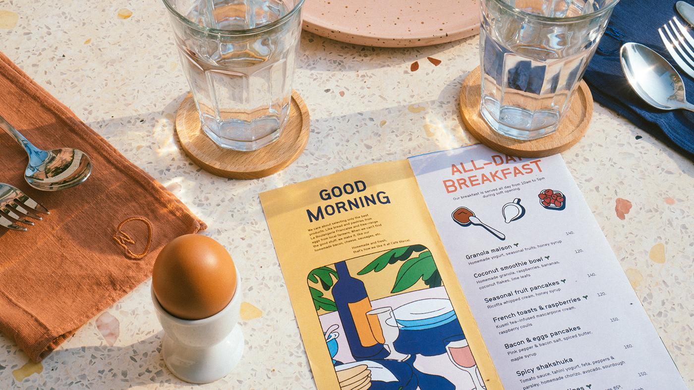 cafe restaurant branding  Interior ILLUSTRATION