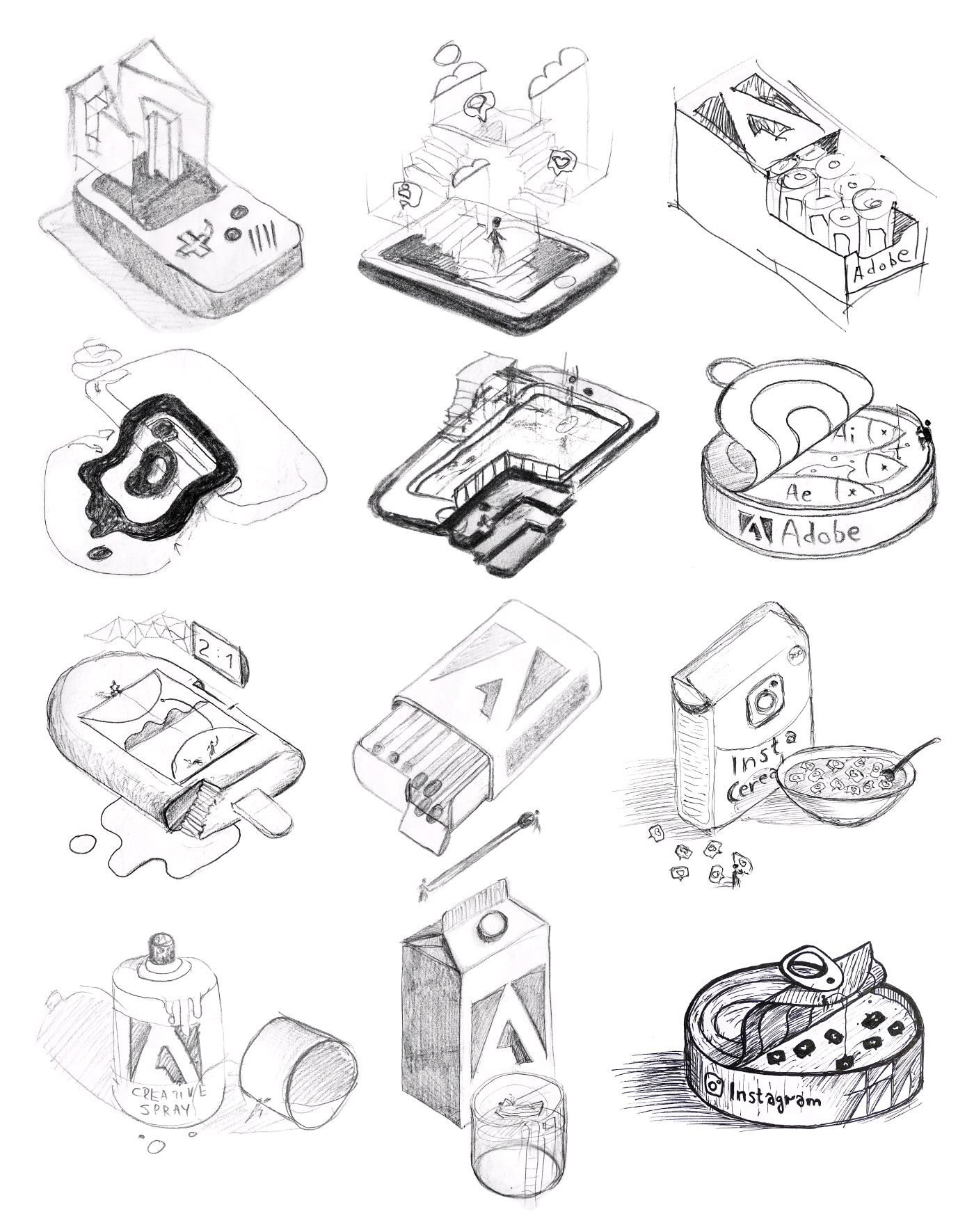 12 sketches of ideas which transformed into 12 independent eye pleasing design pieces