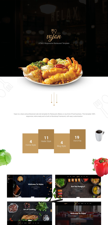 Vojon Responsive Restaurant Html5 Template On Behance